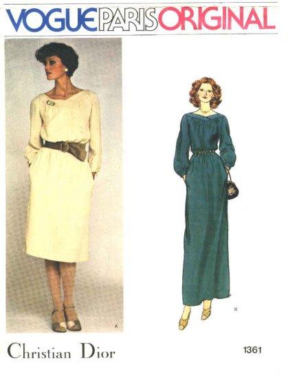 Vogue Sewing Pattern 1361 Misses Size 10 Christian Dior Paris Original Evening Formal Dress