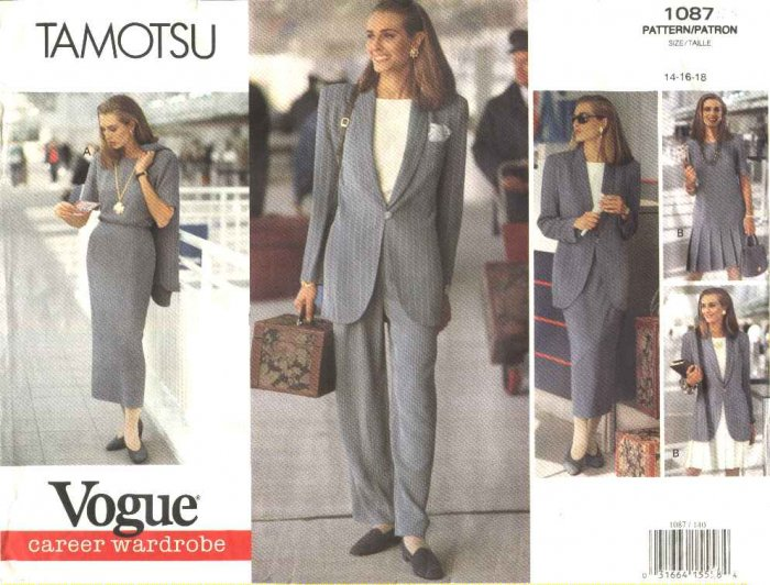 Vogue Sewing Pattern 1087 Misses Size 14-18 Tamotsu Easy Wardrobe Dress Jacket Pants Top