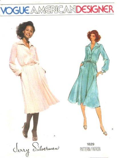 Vogue Sewing Pattern 1829 V1829 Misses Size 16 Jerry Silverman American Designer Long Sleeve Dress