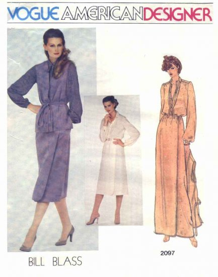 Vogue Sewing Pattern 2097 Misses Size 10 Bill Blass American Designer Wrap Skirt Vest Blouse