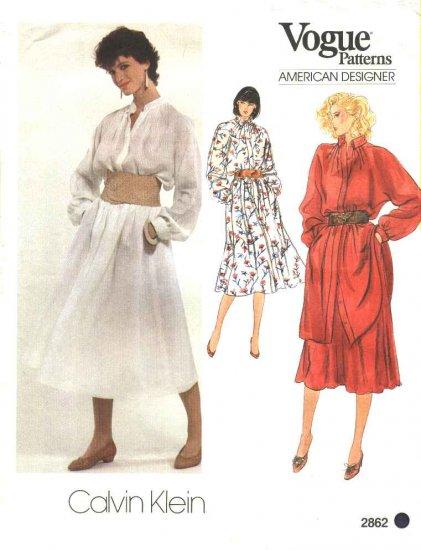 Vogue Sewing Pattern 2862 V2862 Misses Size 10 Calvin Klein American Designer Dress Top Tunic Skirt
