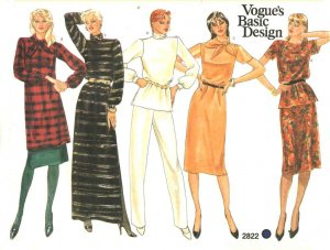 Vogue Sewing Pattern 2822 V2822 Misses Size 10 Basic Wardrobe Pants Skirt Straight Dress Top Tunic