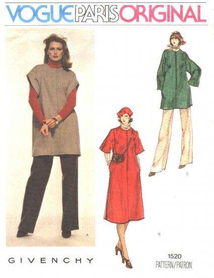 Vogue Sewing Pattern 1520 Misses Size 10 Givenchy Paris Original Dress Tunic Pants