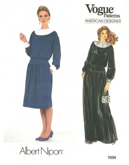 Vogue Sewing Pattern 1034 Misses Size 10 Albert Nipon American Designer Formal Long Short Dress