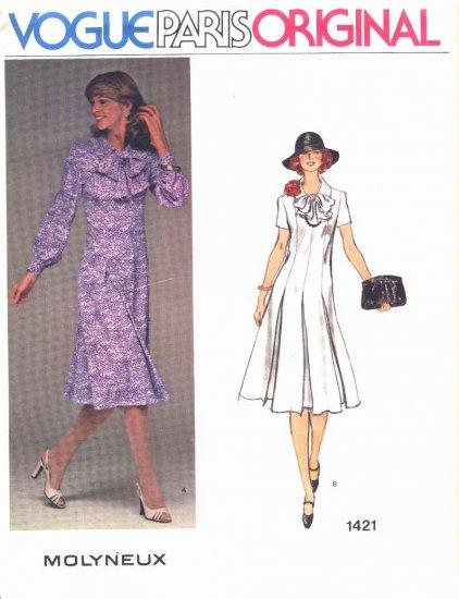 Vogue Sewing Pattern 1421 Misses Size 10 Molyneux Paris Original Long Short Sleeve Dress