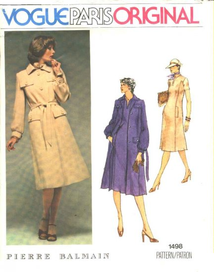 Vogue Sewing Pattern 1498 Misses Size 10 Pierre Balmain Paris Original A-Line Dress Coat