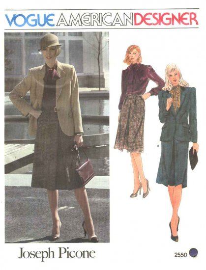 Vogue Sewing Pattern 2550 Misses Size 10 Joseph Picone American Designer Jacket Skirt Blouse Suit