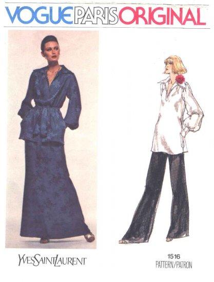 Vogue Sewing Pattern 1516 Misses Size 10 Yves Saint Laurent Paris Original Top Long Skirt Pants