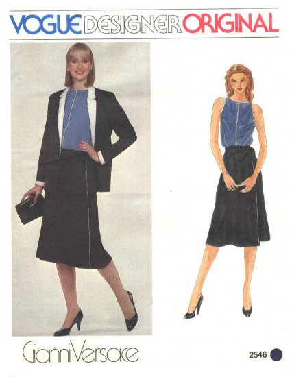 Vogue Sewing Pattern 2546 Misses Size 10 Gianni Versace Designer Original Jacket Top Wrap Skirt