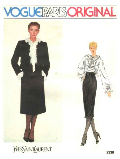 Vogue Sewing Pattern 2338 Misses Size 10 Yves Saint Laurent Paris Original Jacket Skirt Blouse