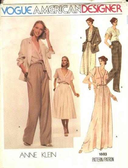 Vogue Sewing Pattern 1883 Misses Size 10 Anne Klein American Designer Skirt Blouse Pants Jacket