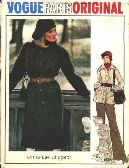 Vogue Sewing Pattern 1126 Misses Size 10 Emanuel Ungaro Paris Original Winter Coat Jacket