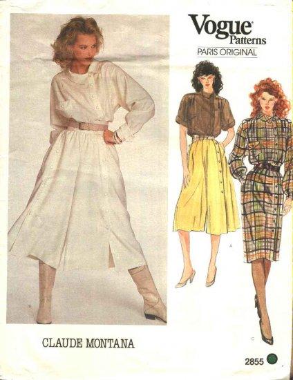 Vogue Sewing Pattern 2855 Misses Size 10 Claude Montana Paris Original Culottes Top Dress Shirt