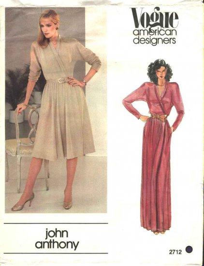 Vogue Sewing Pattern 2712 Misses Size 10 John Anthony American Designer Knit Front Wrap Dress