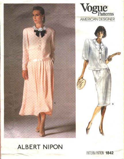 Vogue Sewing Pattern 1842 Misses Size 10 Albert Nipon American Designer Skirts Tops 2- Piece Dress