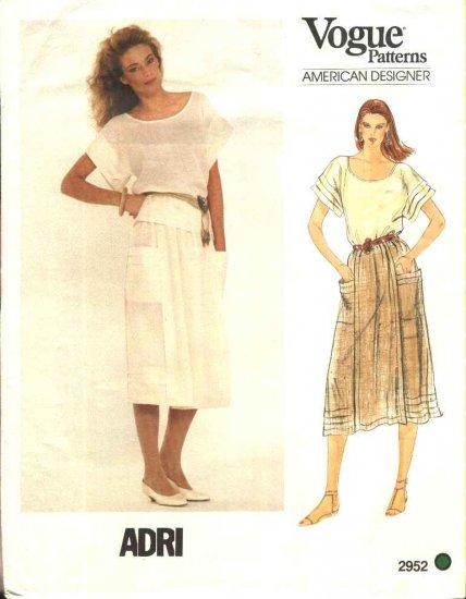 Vogue Sewing Pattern 2952 Misses Size 10 Adri American Designer Pullover Summer Top Skirt