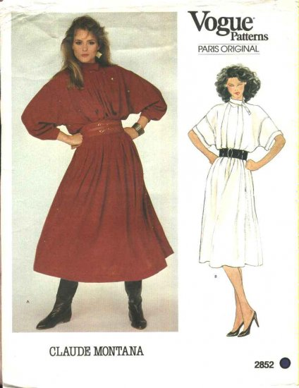 Vogue Sewing Pattern 2852 Misses Size 8-10 Claude Montana Paris Original Loose Fitting Dress