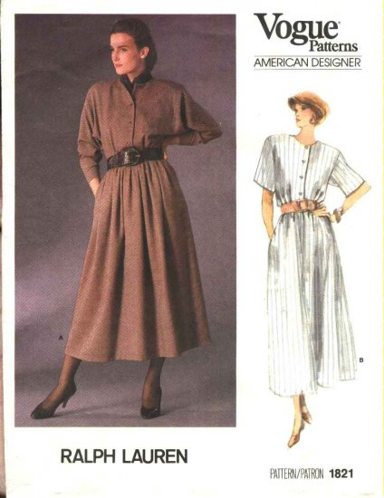 Vogue Sewing Pattern 1821 Misses Size 6-10 Ralph Lauren American Designer Button Front Dress