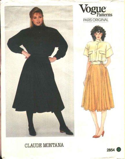 Vogue Sewing Pattern 2854 Misses Size 10 Claude Montana Paris Original Jacket Skirt Shirt Top