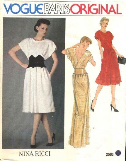 Vogue Sewing Pattern 2563 Misses Size 10 Nina Ricci Paris Original Formal Short Long Back Wrap Dress