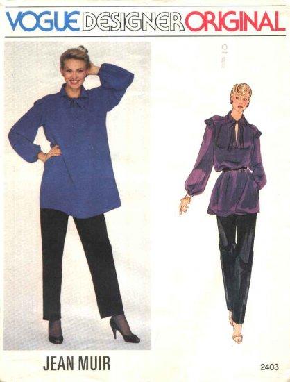 Vogue Sewing Pattern 2403 Misses Size 10 Jean Muir Designer Original Long Sleeve Tunic Top Pants