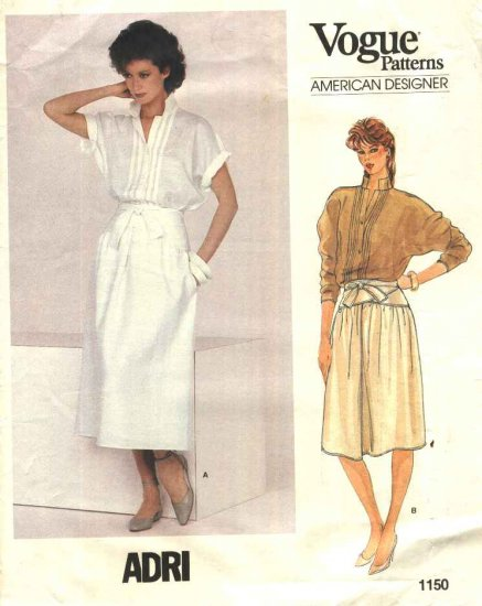 Vogue Sewing Pattern 1150 Misses Size 10 Adri American Designer Button Front Top Yoke Skirt