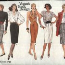 Vogue Sewing Pattern 1745 Misses Size 8-12 Basic Classic Straight Fitted Pleated Skirt