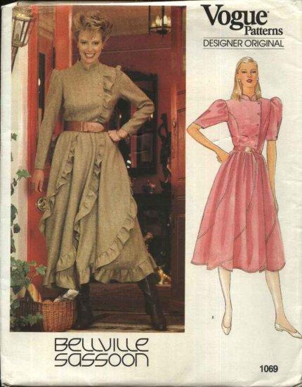 Vogue Sewing Pattern 1069 Misses Size 10 Bellville Sassoon Designer Original Full Skirt Dress
