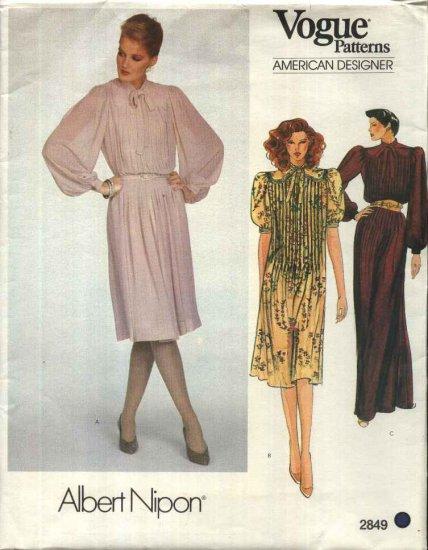 Vogue Sewing Pattern 2849 Misses Size 10 Albert Nipon American Designer Tucked Long Short Dress