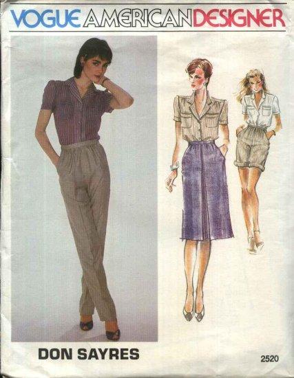 Vogue Sewing Pattern 2520 Misses Size 10 Don Sayres American Designer Shirt Skirt Pants Shorts