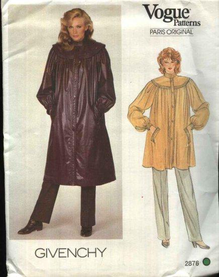 Vogue Sewing Pattern 2876 Misses Size 10 Givenchy Paris Original Long Short Loose Fitting Coat