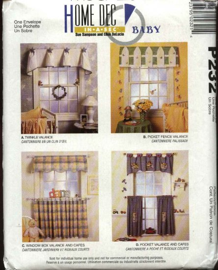McCall�s Sewing Pattern P232 Café Curtains Valances Baby Nursery Child Room Home Decoration