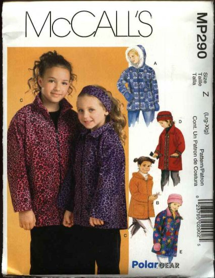 McCall's Sewing Pattern P290 2967 Girls Size 7-12 Fleece Zipper Front Hooded Jacket Hat Mittens