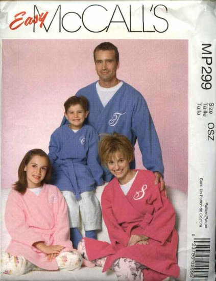 McCall's Sewing Pattern P299 4726 Misses Mens Boys Girls All Sizes Bath Robe Belt Pants Socks