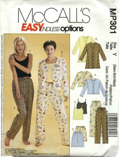 McCall's Sewing Pattern P301 474 3856 M3856 Misses Size 4-14 Easy Pajamas Top Camisole Shorts Pants