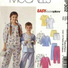 McCall's Sewing Pattern P302 MP302 4278 Boys Girls Size 3-6 Easy Pajamas Nightshirt Top Pants Shorts