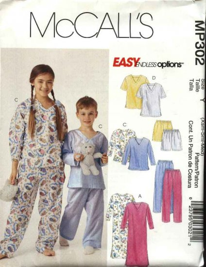 McCall's Sewing Pattern P302 Childs Boys Girls Size 7-12 Easy Pajamas  Nightshirt Top Pants Shorts