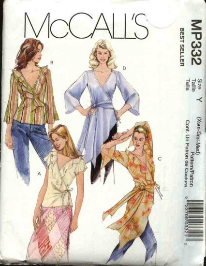 McCall's Sewing Pattern P332 Misses Size 4-14 Front Wrap Assymetrical Blouses Ruffles Long Sleeves