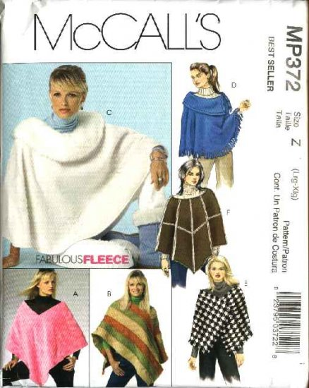 McCall's Sewing Pattern MP372 Misses Size 16-22 Fleece  Ponchos Wraps