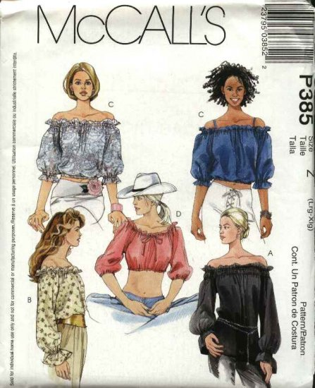 McCall's Sewing Pattern 385 Misses Size 16-22 Off-the-Shoulder Peasant Pullover Midriff Top