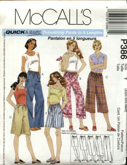 McCall's Sewing Pattern P386 Misses Size 4-14 Easy Drawstring Cropped Pants Capris Shorts Bermudas
