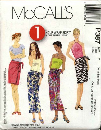 McCall's Sewing Pattern 387 Misses Size 4-14 Easy  Wrap Short Long Straight Skirt Sarong Pareo