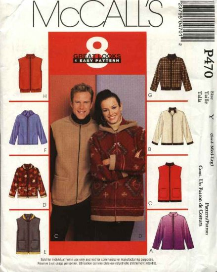 "McCall's Sewing Pattern 470 3784 Misses Mens Unisex Size 34-44""  Easy Fleece Hooded Jacket Vest"