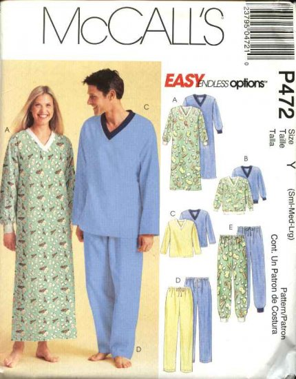 "McCall's Sewing Pattern 472 Misses Mens Unisex  Chest Size 31 1/2 - 40"" Pajamas Nightshirt Nightgown"