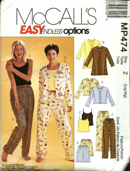 McCall's Sewing Pattern P474 301 3856 M3856 Misses Size 4-14 Easy Pajamas Top Camisole Shorts Pants