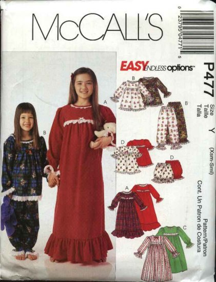 McCall's Sewing Pattern 477 4252 Girls Size 7-16 Easy Nightgown Pajamas Pants Shorts Bloomers Top