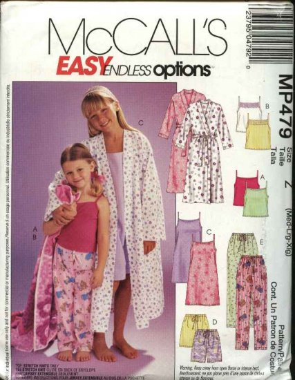 McCall's Sewing Pattern 479 3906 Girls Size 7-16 Easy Bathrobe Camisole Top Nightgown Pants Shorts
