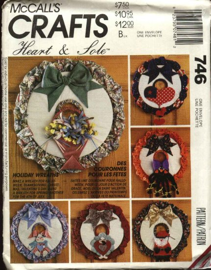 McCall�s Sewing Pattern 746 5847 M5847 Holiday Wreaths Christmas Easter Thanksgiving Valentines