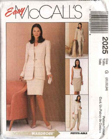 McCall's Sewing Pattern 2025 Misses Size 14-18 Easy Wardrobe Lined Jacket Top Skirt Pants