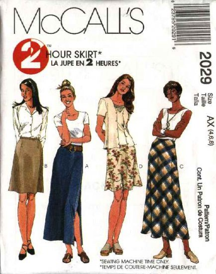 McCall's Sewing Pattern 2029 Misses Size 8-10-12 Two-Hour A-line Fitted Bias Long Short Skirts